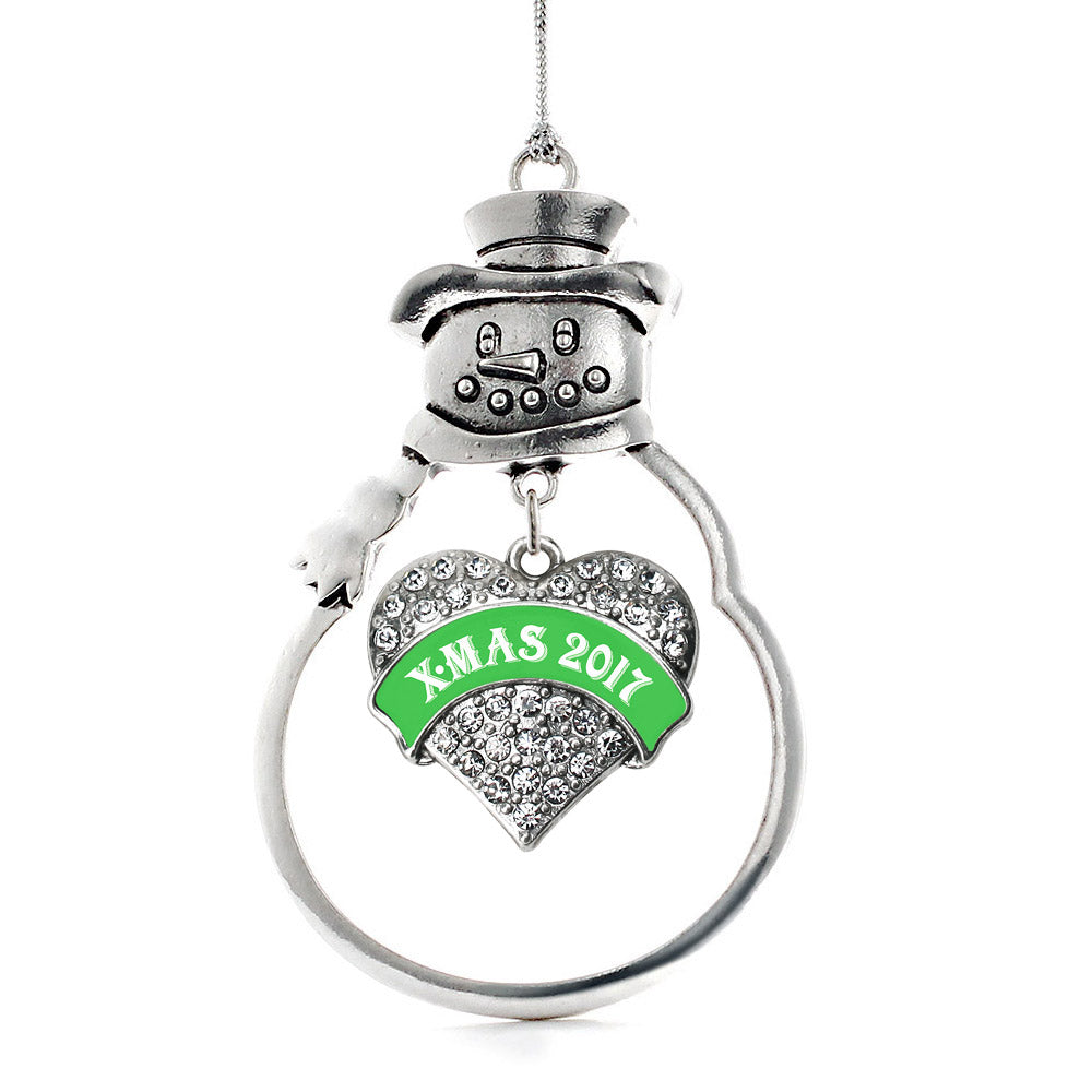Green X-mas 2017 Pave Heart Charm Christmas / Holiday Ornament