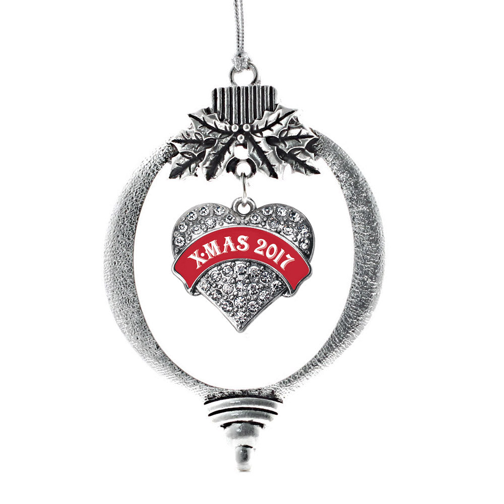 Red X-mas 2017 Pave Heart Charm Christmas / Holiday Ornament