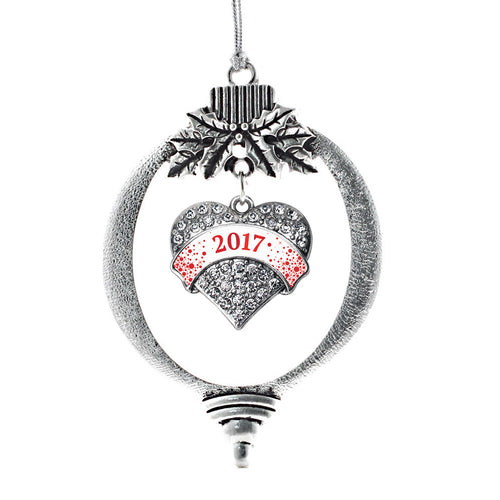 Red and White Christmas 2017 Pave Heart Charm Christmas / Holiday Ornament