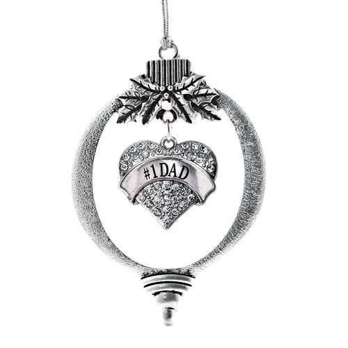 #1 Dad Pave Heart Charm Christmas / Holiday Ornament
