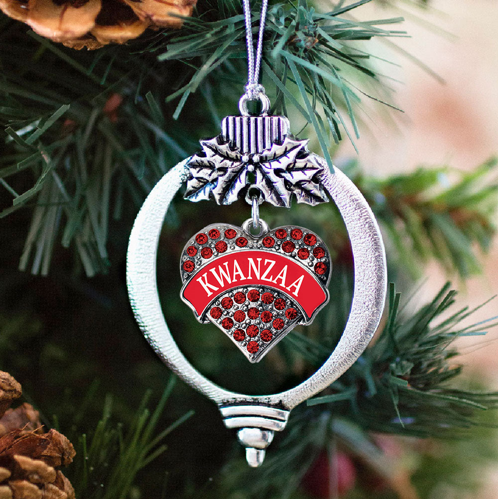 Kwanzaa Red Pave Heart Charm Christmas / Holiday Ornament