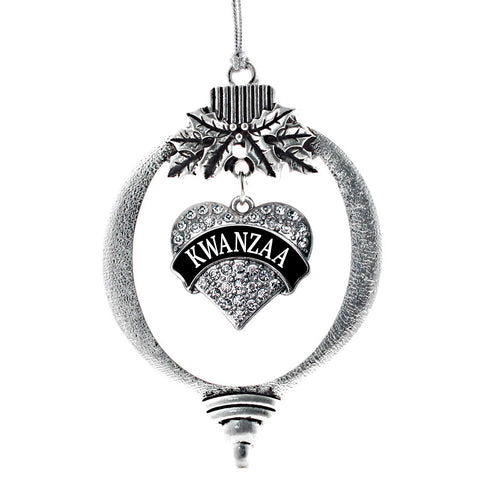 Black Banner Kwanzaa Pave Heart Charm Christmas / Holiday Ornament