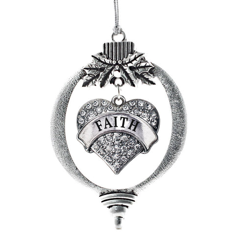 Faith Pave Heart Charm Christmas / Holiday Ornament