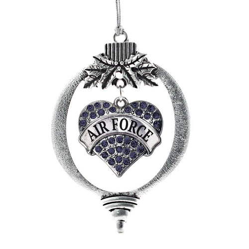 Navy Blue Air Force Pave Heart Charm Christmas / Holiday Ornament