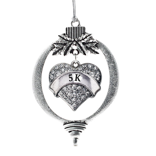 5k Runner Pave Heart Charm Christmas / Holiday Ornament