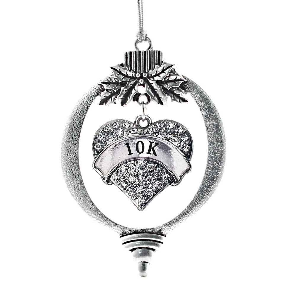 10k Runner Pave Heart Charm Christmas / Holiday Ornament