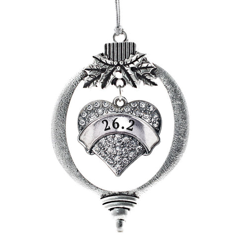 26.2 Runner Pave Heart Charm Christmas / Holiday Ornament