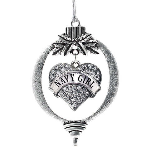 Navy Girl Pave Heart Charm Christmas / Holiday Ornament