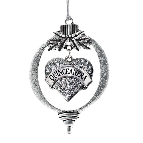 Quinceanera Pave Heart Charm Christmas / Holiday Ornament