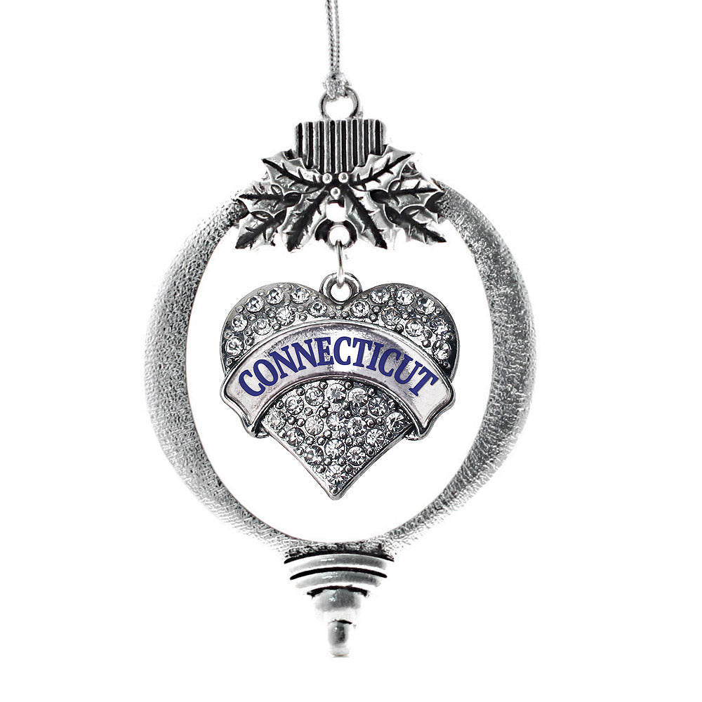 Connecticut Pave Heart Charm Christmas / Holiday Ornament