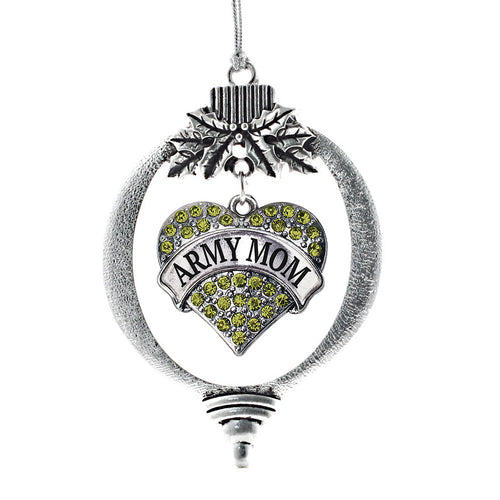 Army Mom Pave Heart Charm Christmas / Holiday Ornament