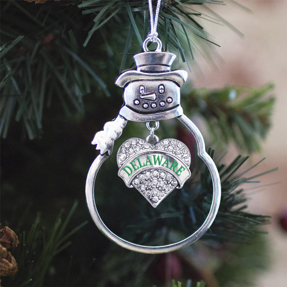 Delaware Pave Heart Charm Christmas / Holiday Ornament