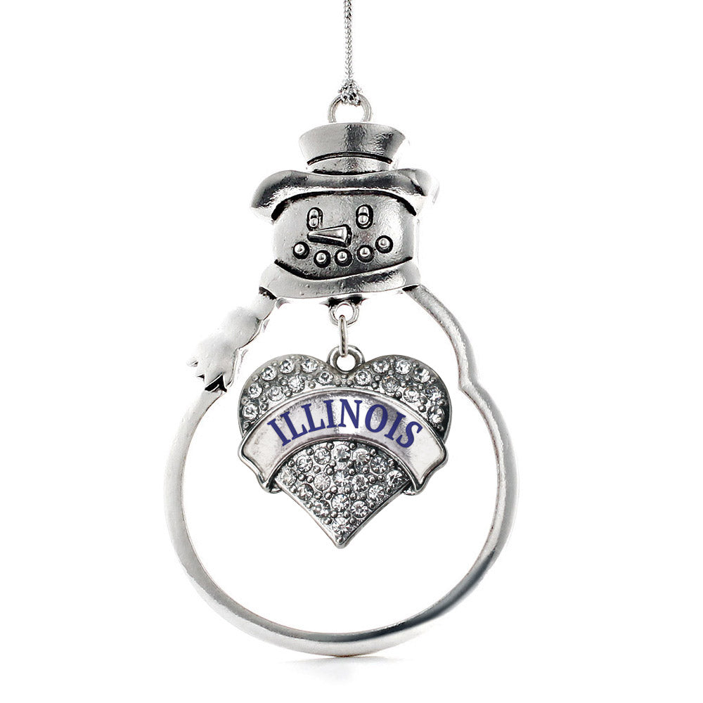Illinois Pave Heart Charm Christmas / Holiday Ornament