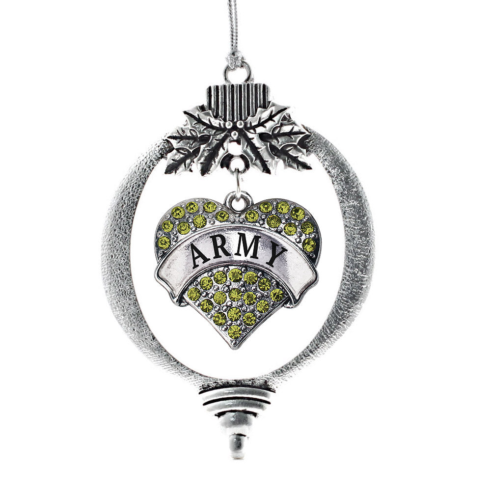 Army Pave Heart Charm Christmas / Holiday Ornament