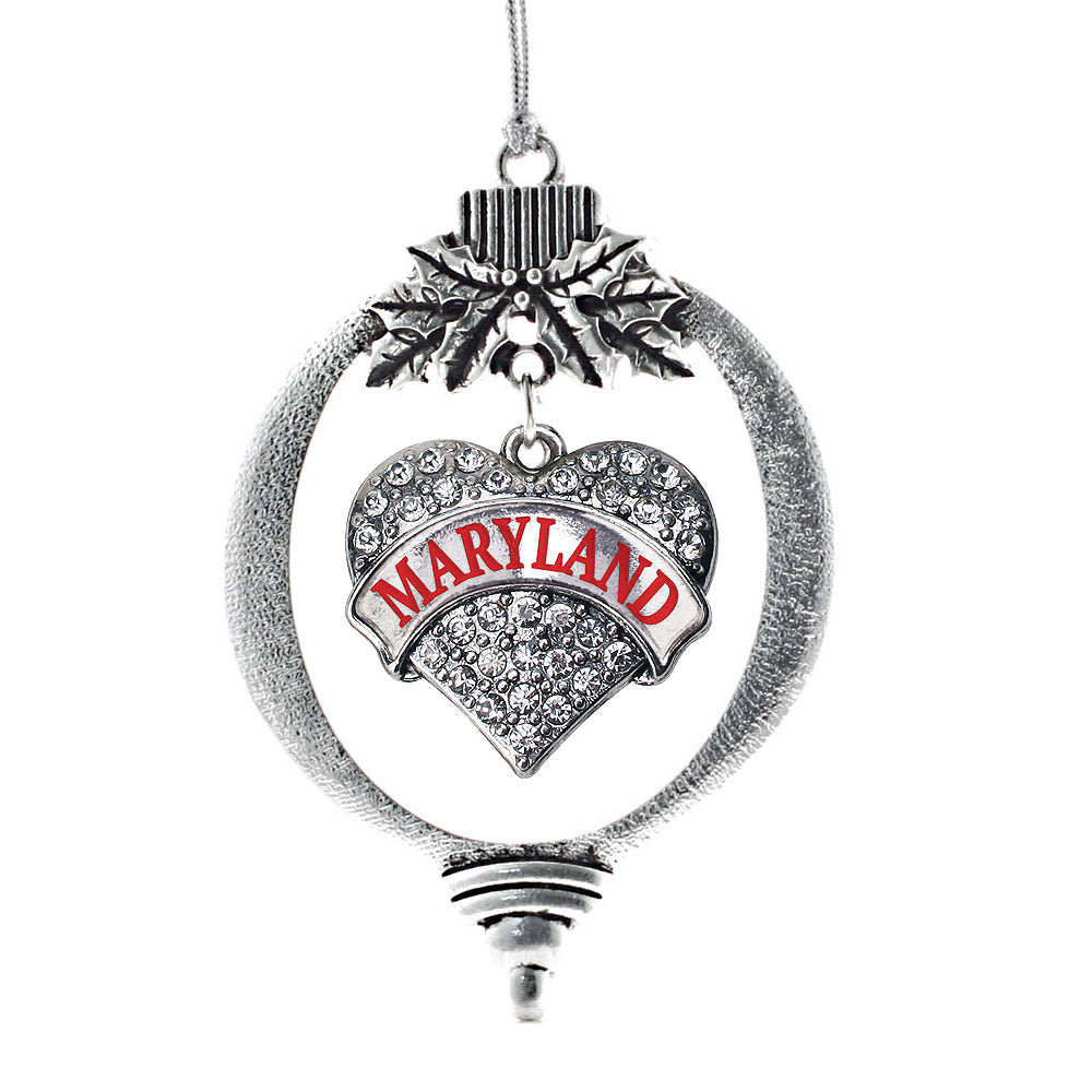 Maryland Pave Heart Charm Christmas / Holiday Ornament
