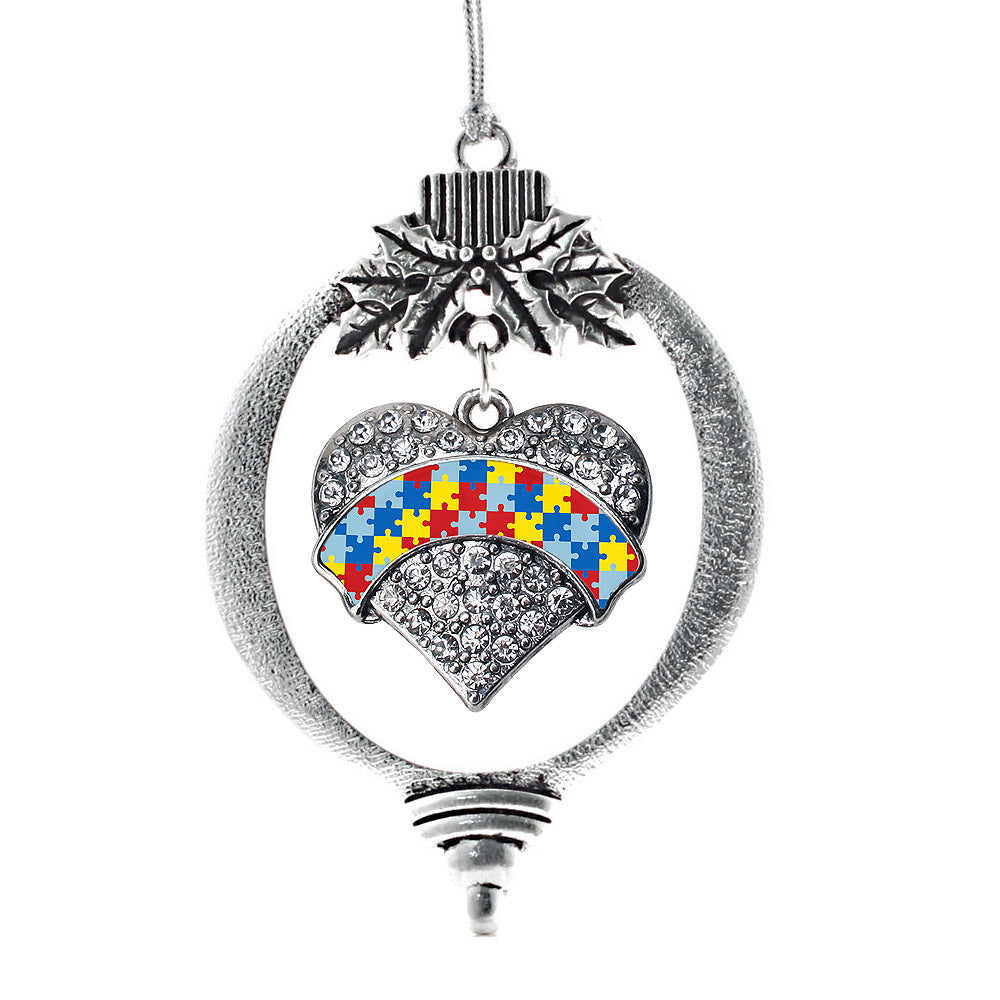 Autism Awareness Pave Heart Charm Christmas / Holiday Ornament