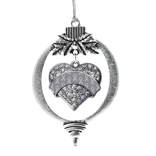 Gray Ribbon Support Pave Heart Charm Christmas / Holiday Ornament