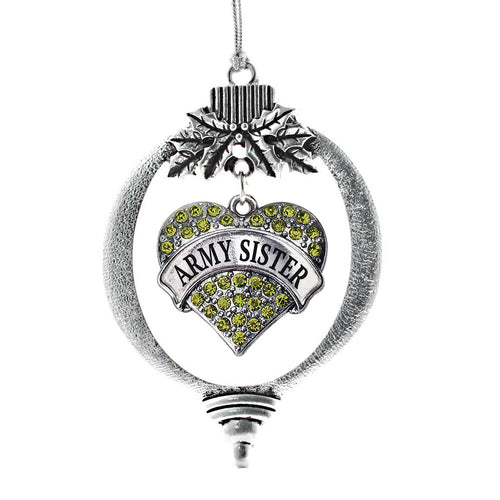 Army Sister Pave Heart Charm Christmas / Holiday Ornament