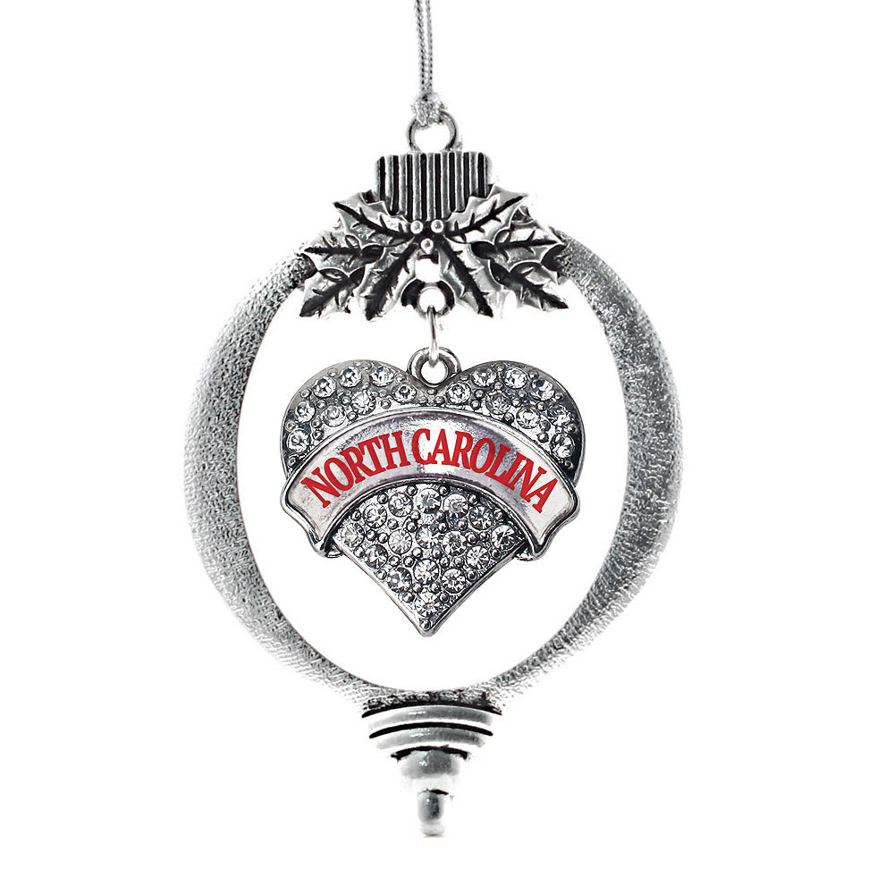 North Carolina Pave Heart Charm Christmas / Holiday Ornament