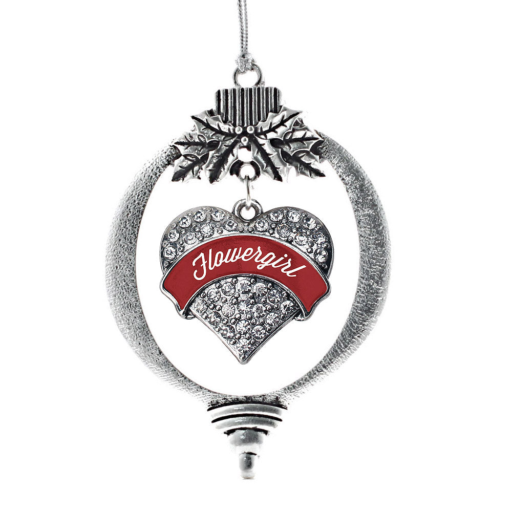 Crimson Red Flower Girl Pave Heart Charm Christmas / Holiday Ornament