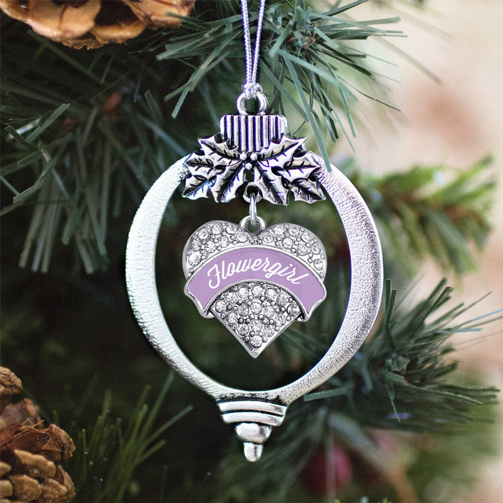 Lavender Flower Girl Pave Heart Charm Christmas / Holiday Ornament