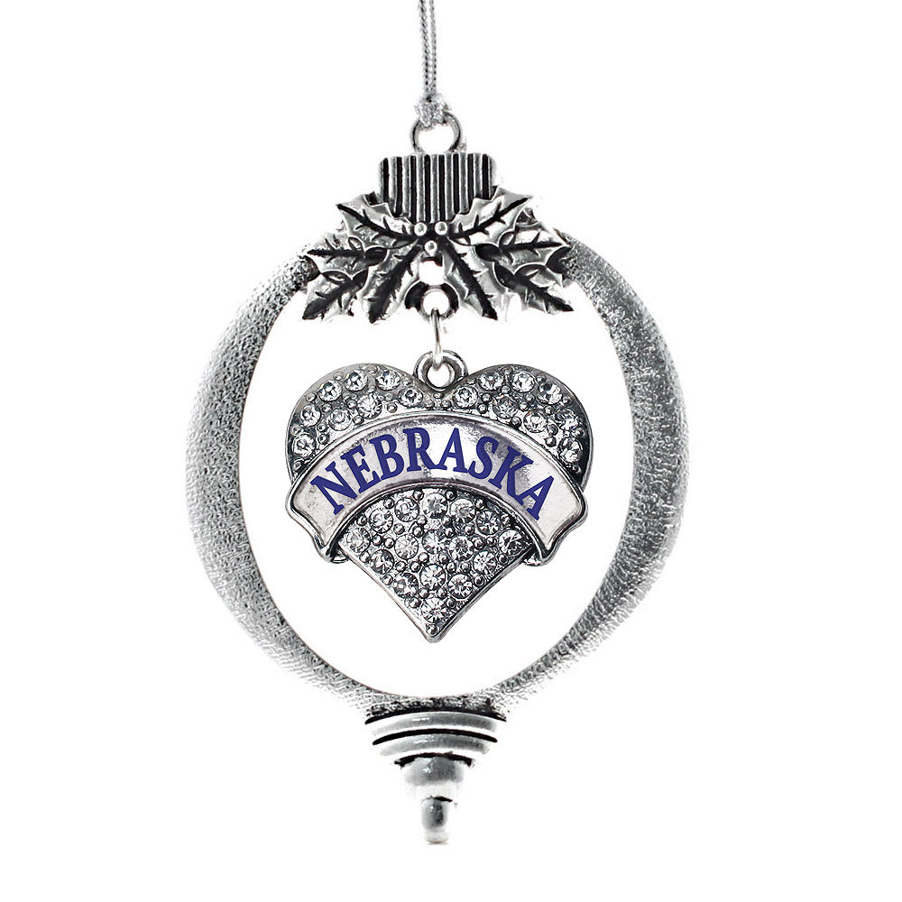 Nebraska Pave Heart Charm Christmas / Holiday Ornament