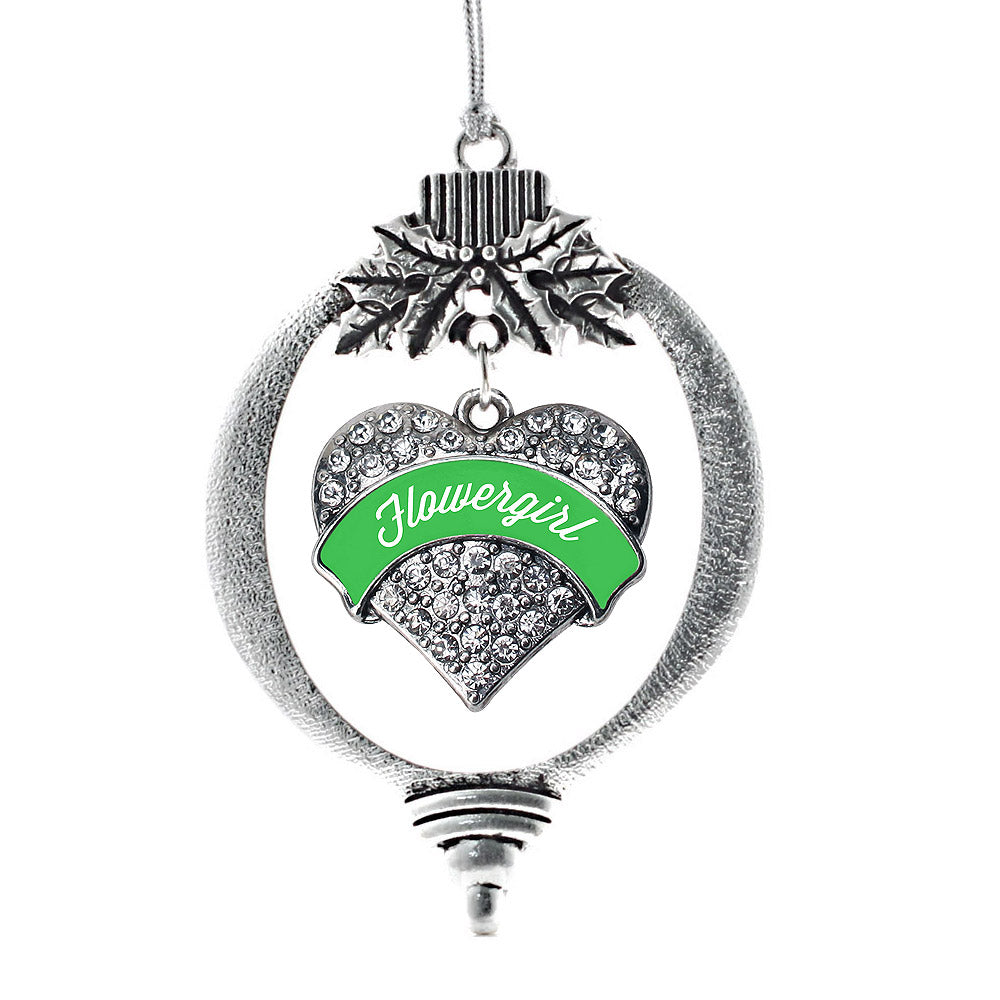 Emerald Green Flower Girl Pave Heart Charm Christmas / Holiday Ornament