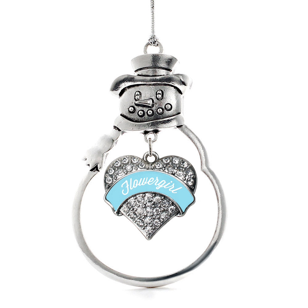 Light Blue Flower Girl Pave Heart Charm Christmas / Holiday Ornament