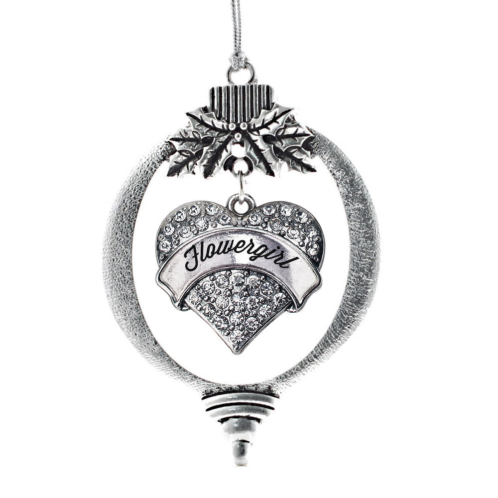 Silver Flower Girl Pave Heart Charm Christmas / Holiday Ornament