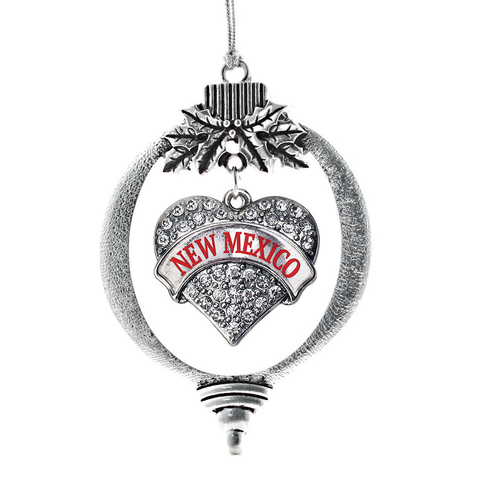 New Mexico Pave Heart Charm Christmas / Holiday Ornament