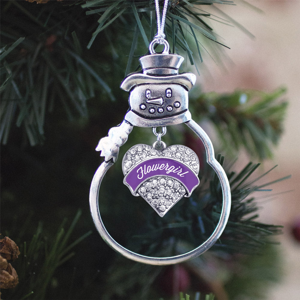 Purple Flower Girl Pave Heart Charm Christmas / Holiday Ornament