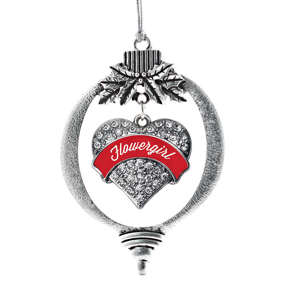 Red Flower Girl Pave Heart Charm Christmas / Holiday Ornament