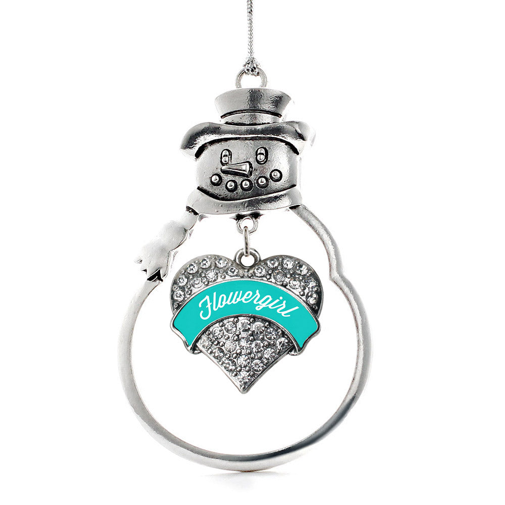 Teal Flower Girl Pave Heart Charm Christmas / Holiday Ornament
