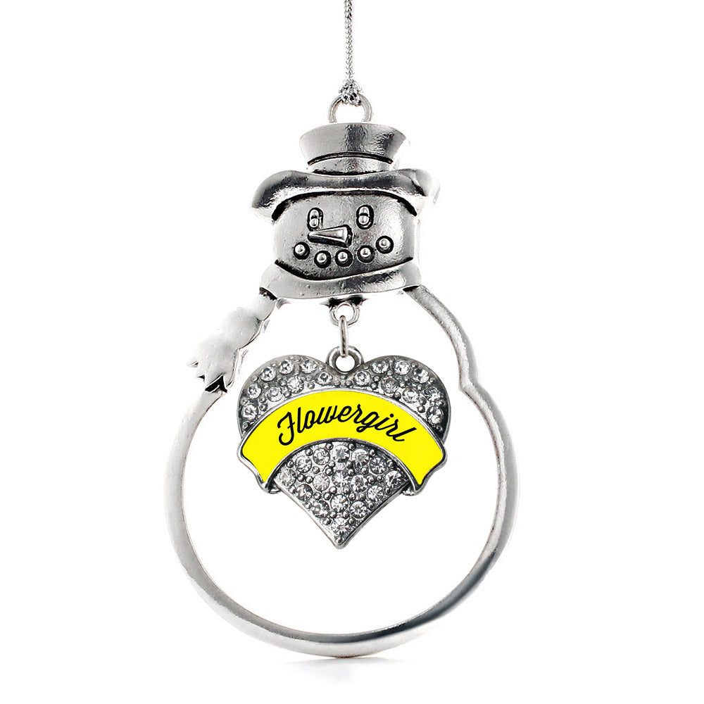 Yellow Flower Girl Pave Heart Charm Christmas / Holiday Ornament