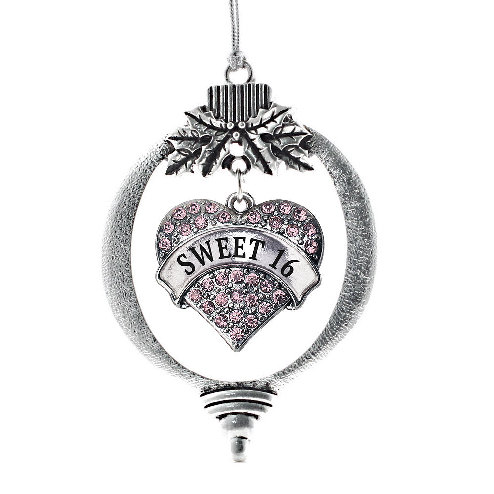 Pink Sweet 16 Pave Heart Charm Christmas / Holiday Ornament