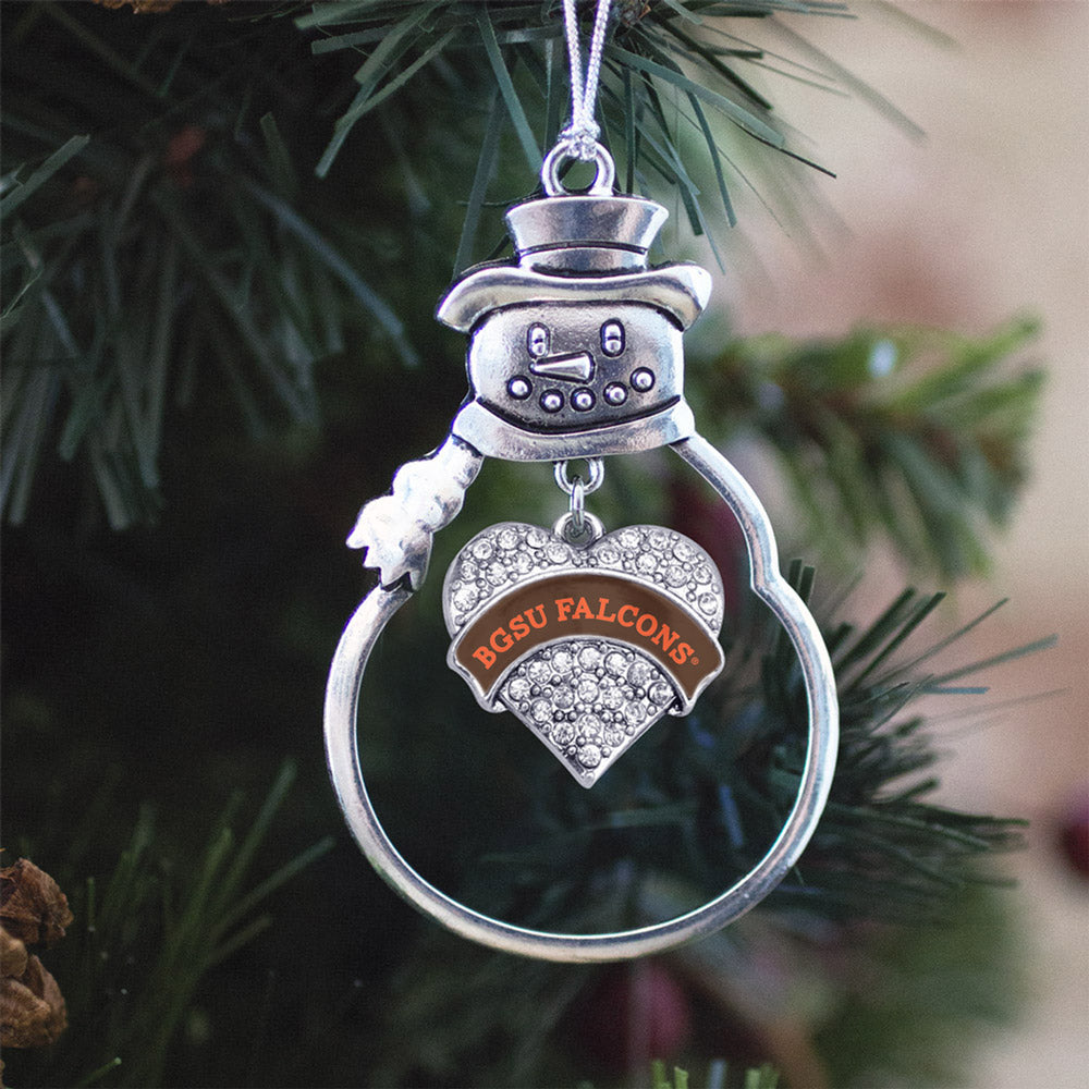 BGSU Falcons Pave Heart Charm Christmas / Holiday Ornament