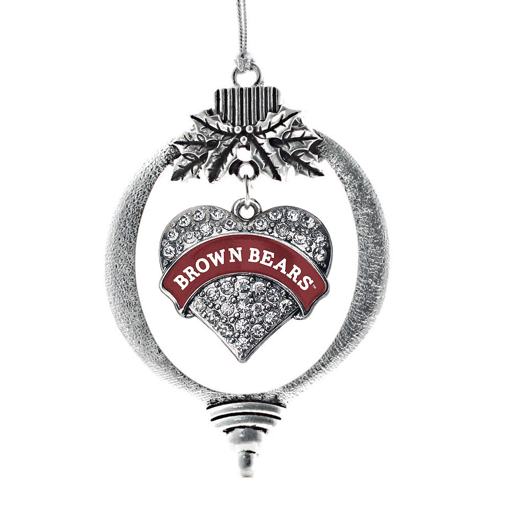 Brown University Bears Pave Heart Charm Christmas / Holiday Ornament