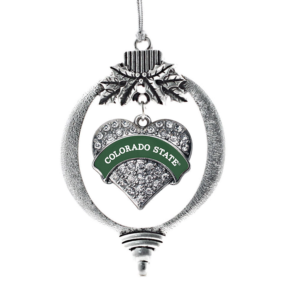 Colorado State University Pave Heart Charm Christmas / Holiday Ornament