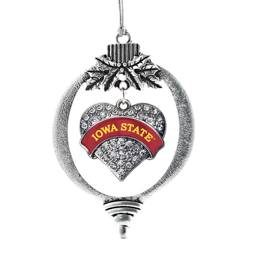 Iowa State University Pave Heart Charm Christmas / Holiday Ornament