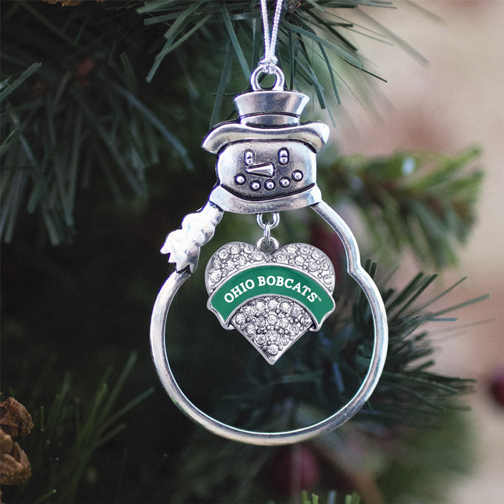 Ohio University Bobcats Pave Heart Charm Christmas / Holiday Ornament