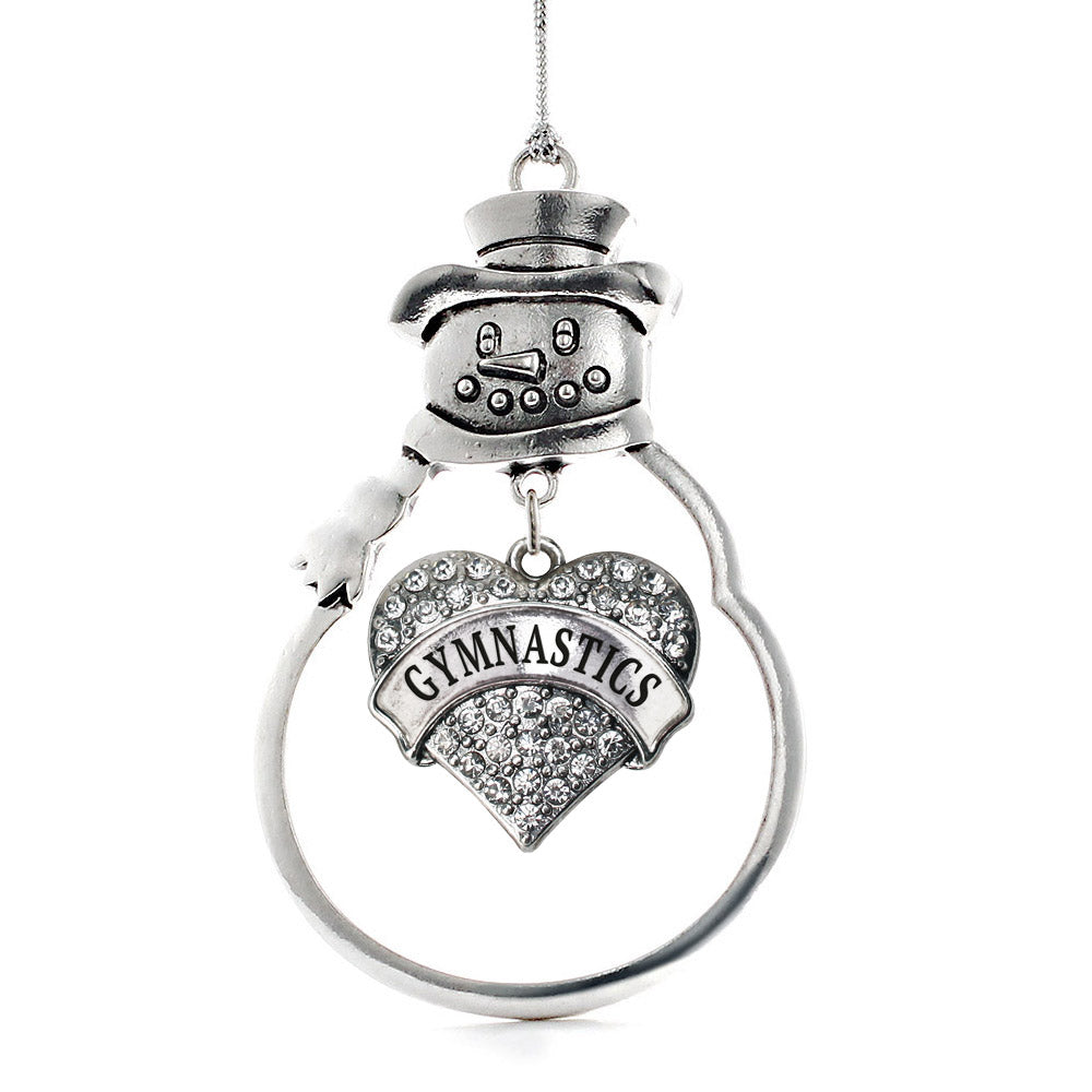 Gymnastics Pave Heart Charm Christmas / Holiday Ornament