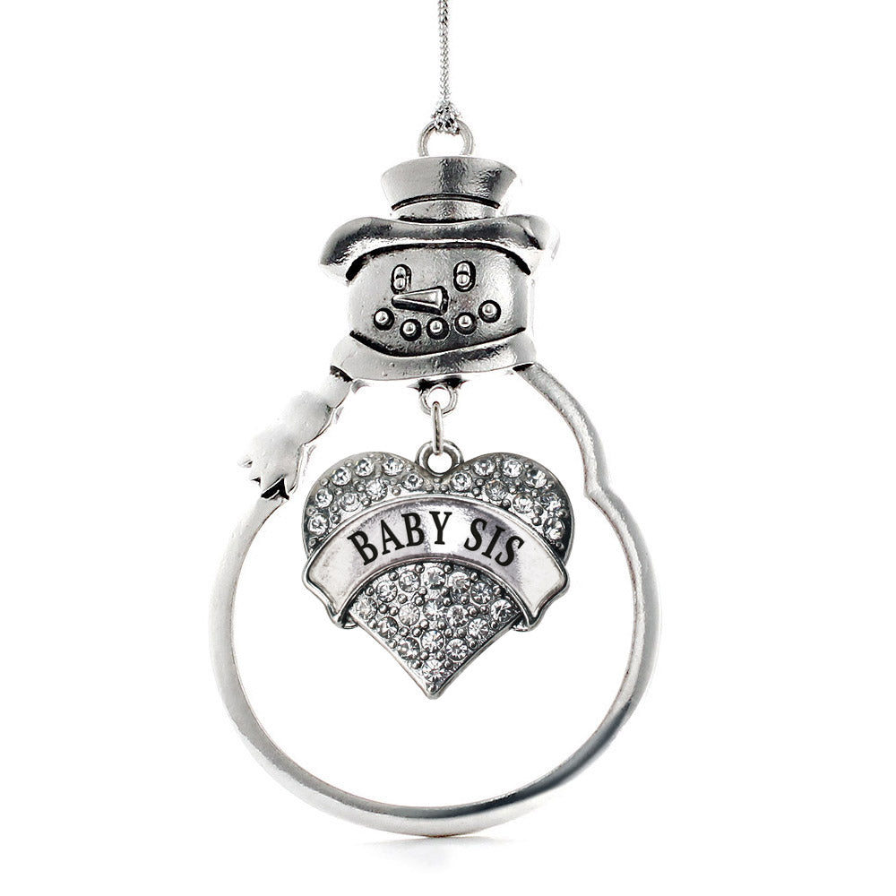 Baby Sis Pave Heart Charm Christmas / Holiday Ornament
