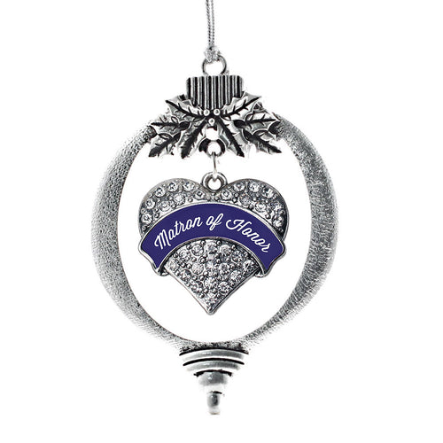Navy Blue Matron Pave Heart Charm Christmas / Holiday Ornament