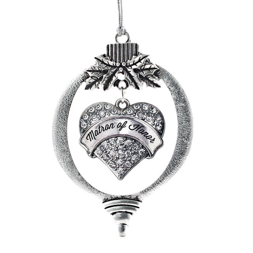 Silver Matron of Honor Pave Heart Charm Christmas / Holiday Ornament