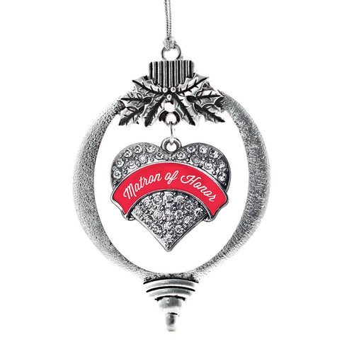 Red Matron Pave Heart Charm Christmas / Holiday Ornament