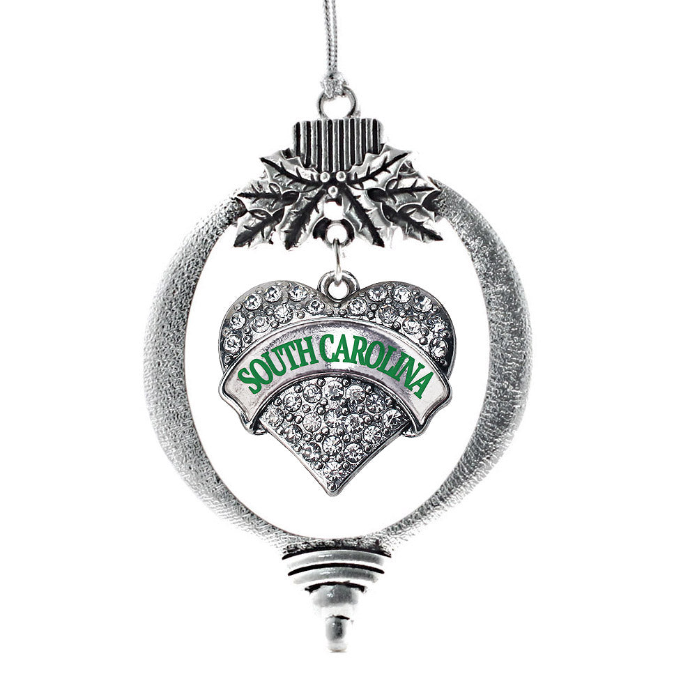 South Carolina Pave Heart Charm Christmas / Holiday Ornament