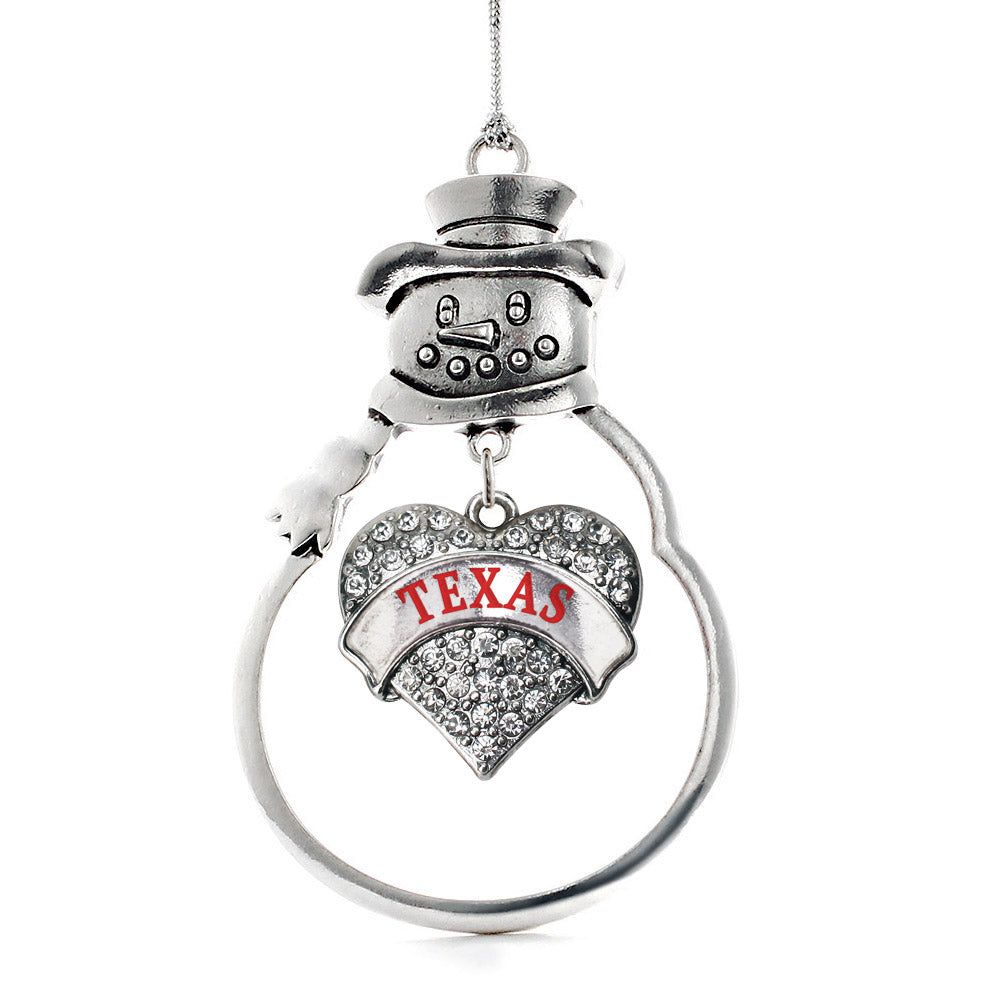 Texas Pave Heart Charm Christmas / Holiday Ornament