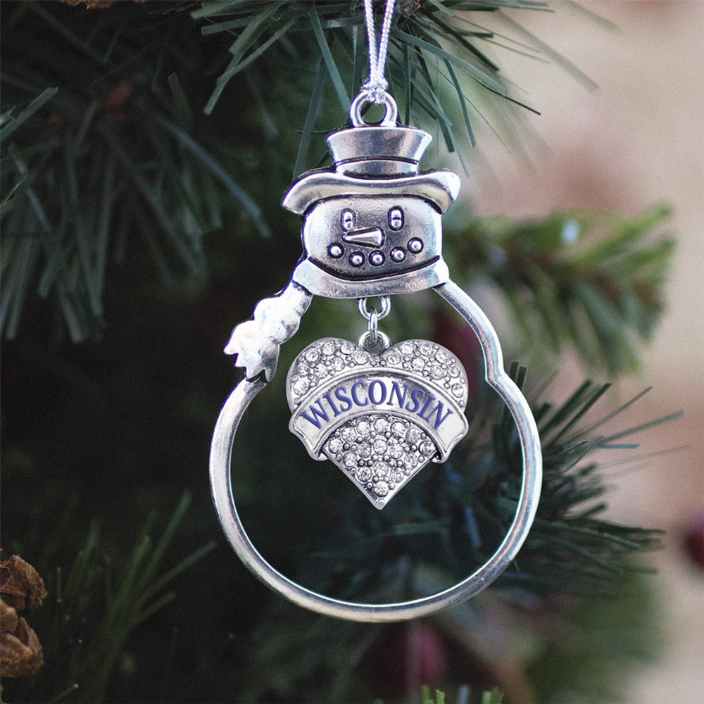 Wisconsin Pave Heart Charm Christmas / Holiday Ornament
