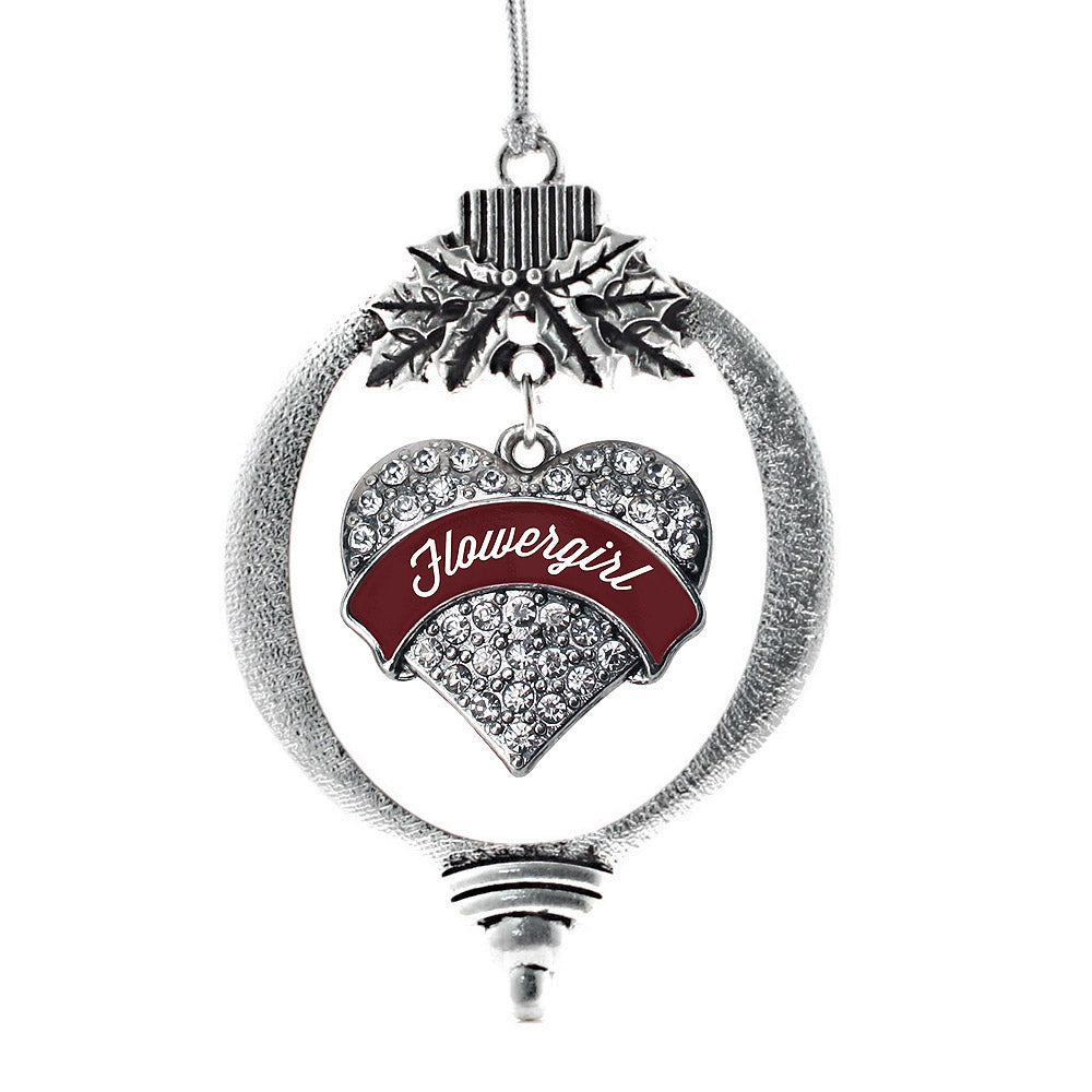 Burgundy Flower Girl Pave Heart Charm Christmas / Holiday Ornament