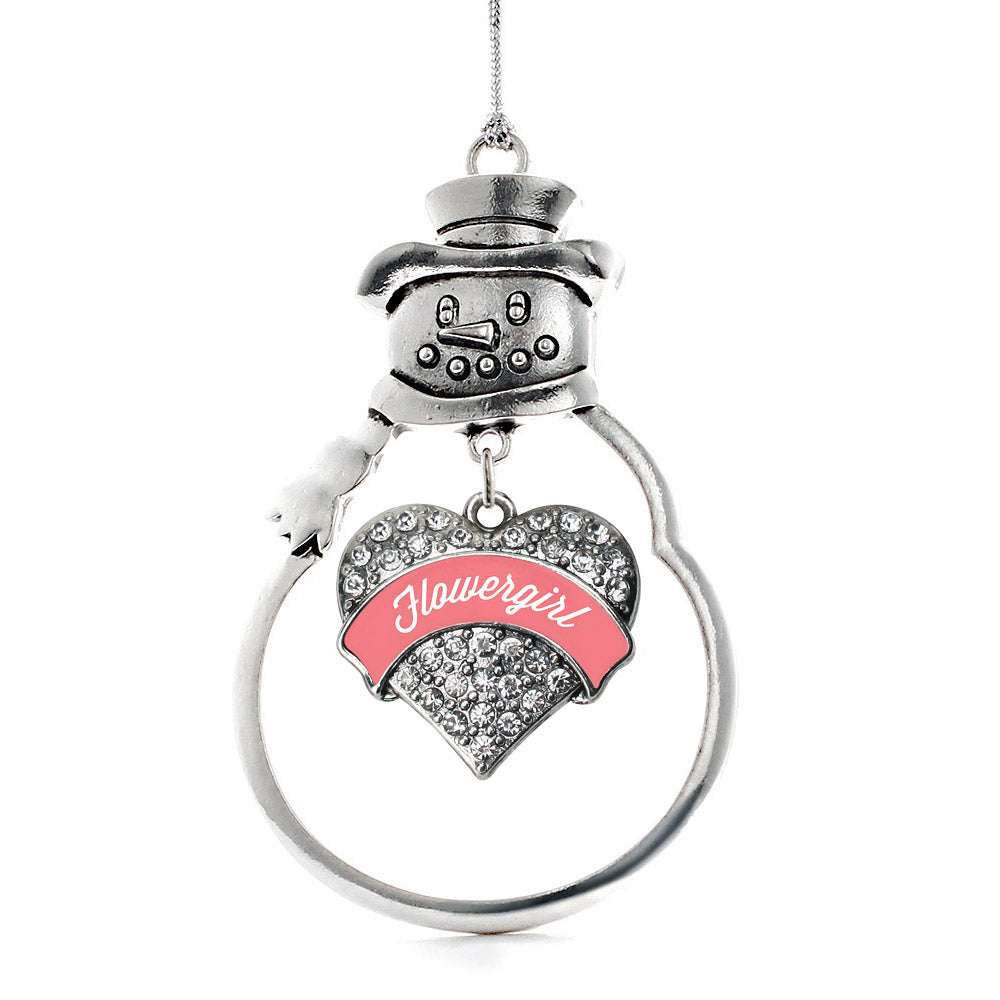 Coral Flower Girl Pave Heart Charm Christmas / Holiday Ornament